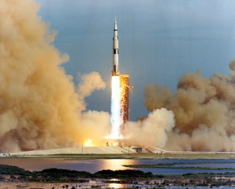 Apollo 15 takes off on  July 26, 1971.